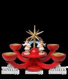 Adventsleuchter rot,  mit Teelichthalter u. 4 stehenden Engeln - Neuheit 2014