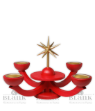Adventsleuchter rot,  mit Teelichthalter ohne Engeln - Neuheit 2014