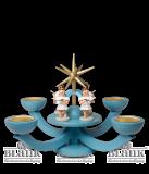Adventsleuchter blau,  mit Teelichthalter u. 4 stehenden Engeln - Neuheit 2014
