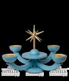 Adventsleuchter blau,  mit Teelichthalter ohne Engeln - Neuheit 2014