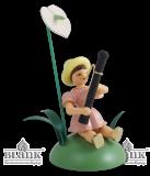 Blumenkind mit Anthurie und Fagott, farbig, sitzend