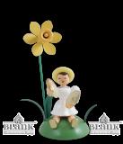 Blumenkind sitzend  mit  Narzisse/Becken