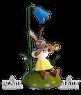 Osterhase sitz. mit Glockenblume / Trompete