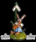 Osterhase sitz. mit Schneeglöckchen / Mandoline