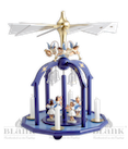 Weihnachtspyramide mit 7 Engel und Glasglöckchen, farbig