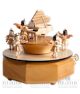 Spieldose mit Engel am Flügel, Naturholz